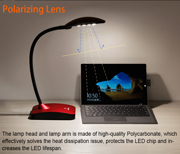 led modern led desk lamp red brown Leimove Brand
