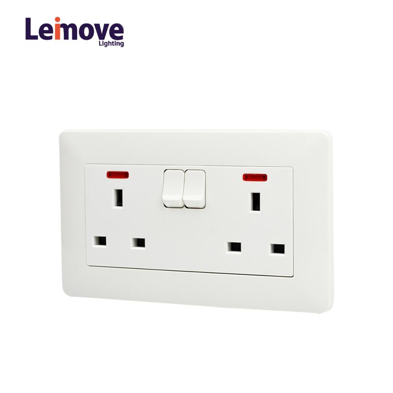 Light Double Gang Electric Waterproof Switcher Wall Socket