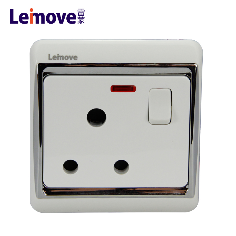 One 15A round plug switch with light LMD15S1-DP(A)